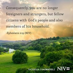 Consequently you are no longer foreigners and strangers, but fellow citizens with God's people and also members of his household. Ephesians 2:19 (NIV)