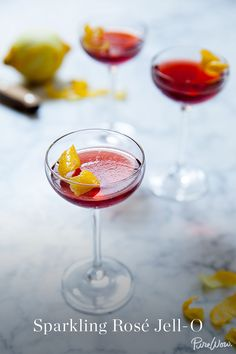 Sparkling Rose Jell-O. In this recipe, we classed the Jell-O shot up ever so slightly by using sparkling rosé wine and vodka and serving each portion in a Champagne glass with a lemon twist. Oh, and by not drinking it in the basement of a fraternity house. (Cheers to adulthood!)