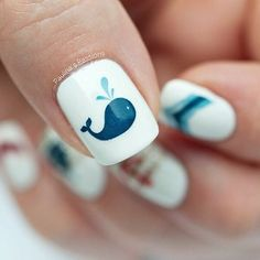 Cute Animal Nail Art Prints that're truly Inspirational Whale nail! Such a cute idea for easy summer nails. Such a cute idea for easy summer nails. Fancy Nails, Diy Nails, Cute Nails, Beach Themed Nails, Beach Nails, Nail Art For Kids, Easy Nail Art, Nail Art Mignon, Nautical Nails