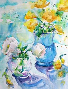 """Hand Painted Original Watercolour painting by Nora MacPhailof beautiful flowers in clear and blue vase. Yellow, white, floral, still life - $70/8""""x10"""" on paper #watercolour, #art, #painting"""