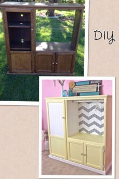 DIY baby armoire out of an old entertainment center... Repurposed
