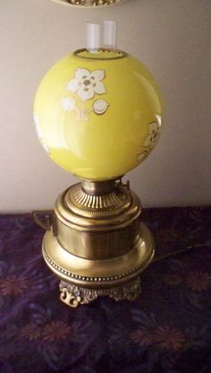 3b3d1e222529 Antique Parlor Lamp Moses Swann McLewee Co. Brass Kettle Base Hurricane Lamp  Yellow Decorated Globe Shade Victorian 1800 s