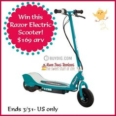 WOO HOO-What a FUN Giveaway- just in time for SPRING! Win this Razor Electric Scooter ~ $169 value!! Sponsored by BuyDig.com Hosted by Mom Does Reviews and her fun blogger friends! This is a perf...
