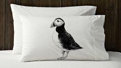 PUFFIN ocean Gull black penguin sea beach Iceland bird North Pacific Atlantic tufted horned auk White Nautical Pillowcase pillow cover