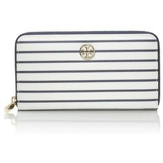 Tory Burch Robinson Printed Zip Continental Wallet ($195) ❤ liked on Polyvore featuring bags, wallets, navy fleet stripe a, navy blue wallet, zip around wristlet wallet, white wallet, chain wallet and pocket wallet