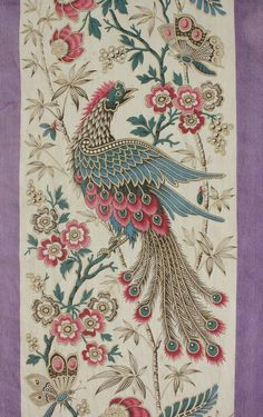Wonderful antique French printed cotton ~ Lovely Indienne design ~ butterfly bird design ~ purple and jewel tones ~ stunning material - it may be sacrilege but I can see embellishing with some delica beads and embroidery Motifs Textiles, Vintage Textiles, Antique Prints, Textile Patterns, Embroidery Patterns, Print Patterns, Design Textile, Textile Prints, Fabric Design