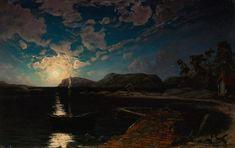 Fanny Churberg (Finnish painter) 1845 - 1892 Kuutamomaisema (Moonlight Landscape), 1878 oil on canvas, mounted on wood 30 x 46 cm. (11.81 x 18.11 in.) Ateneumin Taidemuseo, Helsinki, Finland