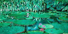 Las pinturas de la selva del artista colombiano Bertel (César Bertel) producen el efecto de esa combinación única entre lo bello y lo extraño que obliga a detenerse ante la obra. Ante el hallazgo de la luz y de los infinitos verdes de las inmensidades amazónicas recreadas por una mano humana en un medio como la acuarela, que podría parecer inadecuado para la honda fuerza de ese mundo selvático, y en un inusual formato de grandes dimensiones.