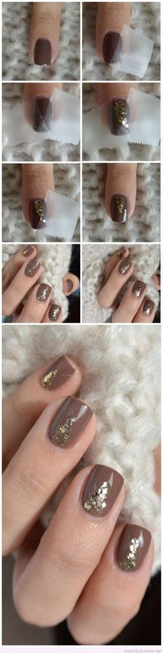 Brown nail polish and golden details