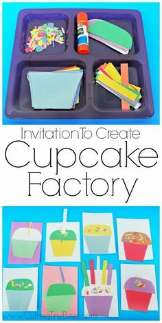 Invitation To Create: Cupcake Factory. Open ended creative craft for kids. Great for color recognition & fine motor development. Perfect for toddlers and preschoolers. Crafts Invitation to Create: Cupcake Factory Toddler Fun, Toddler Preschool, Toddler Crafts, Preschool Activities, Kids Crafts, Art Activities For Preschoolers, Easy Crafts, Quiet Time Activities, Craft Kids