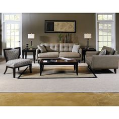 This fabulous Park Avenue set features a contemporary take on retro style, with clean lines, tufted backs and groovy patterned pillows, this set is finished in a beige poly blend fabric that will complement any decor.