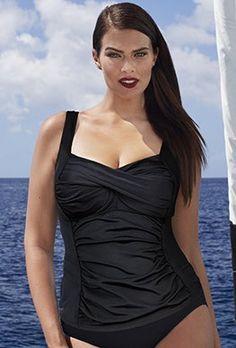 5a415a79658 Black Twist Front Top Plus Size Swimsuit Tops