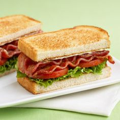 BLT ~ crispy bacon, juicy tomatoes, green leaf lettuce and Miracle Whip on toasted sourdough bread - Mmmmmm