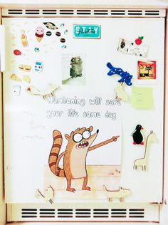 My month trough my iPhone, January, 2013 Rigby from Regular Show on my fridge