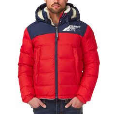 Superdry Mountain Mark Sherpa-coat Casaco - Red-white-blue 59005219be7c4