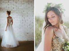 Ouma/Galaxie Andrews / Dixie Pixel/Badgley Mischka | gold & glitter wedding dresses | SouthBound Bride #weddingdress #sparkle