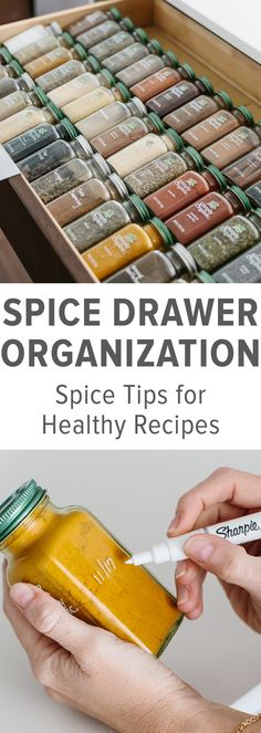 My spice drawer is pivotal to cooking healthy recipes. So today I'm sharing how I organize my spice drawer with Simply Organic spices and giving you a few tips for dried spices. #SpiceOrganization #SpiceDrawer #SpiceRack #KitchenOrganization #KitchenIdeas