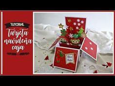TARJETA NAVIDEÑA CAJA SORPRESA - TUTORIAL | LLUNA NOVA SCRAP Boxed Christmas Cards, Christmas Crafts, Pop Up Box Cards, Explosion Box, Scrapbook Albums, Diy Cards, Mini Albums, Cardmaking, Gift Wrapping