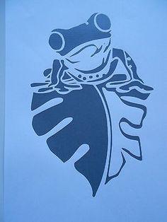 Schablone Frosch auf Blatt auf A4