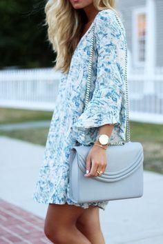Printed Fall Dress + Gray Handbag