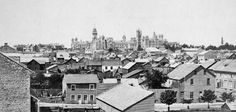 1866 Ottawa  Parliament Buildings a year before Confederation, from the west