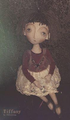 Купить Tiffany - тиффани, текстильная кукла, ферентина, винтаж, лён, трикотаж хлопок, кружево