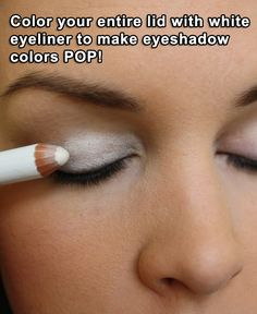 Color your entire lid with white eyeliner to make eyeshadow colors POP - #Beauty, #Eyeshadow, #Makeup