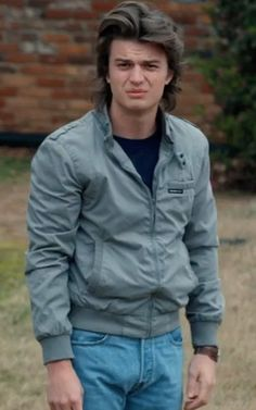 Steve Harrington Jacket is out now.Are you ready to get the stylish look of Steve Harrington which he picks in the movie stranger things. Steve Harrington Stranger Things, Stranger Things Steve, Stranger Things Funny, Stranger Things Halloween Costume, Members Only Jacket, Joe Keery, Harrington Jacket, Favim, Gray Jacket