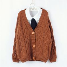 Retro vintage twist knitted sweater coat