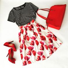 cute & little blog | petite fashion | windowpane blouse, tulip midi skirt, red bow pump, red bag | spring summer outfit