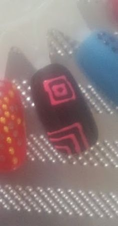 Black and pink hand painted nails