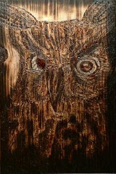 -Burning pen -Polttotyö -Pyrography owl -Polttotyöt Pöllö Pyrography, Lion Sculpture, Owl, Statue, Owls, Woodburning, Sculpture, Sculptures
