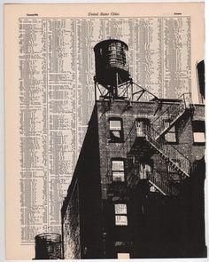New York City  Dark City no1  11 x 14 Book Page Print by NestaHome, $35.00