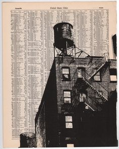 New York City Dark City no1 11 x 14 Book Page Print by NestaHome, $35.00