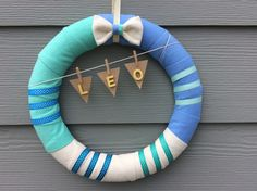 Blue Wreath/Bowtie Wreath/Personalized Wreath/Banner Wreath/Nusery Wreath/Wreath for Baby Room/Modern Wreath/Leo Wreath/Flannel Wreath by DaintyDoorsAndMore on Etsy