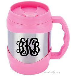 Monogrammed 52oz Kegger Mug in Pink  Yes please M L M
