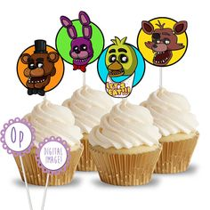 PRINTABLE Five Nights at Freddies Cupcake Toppers / picks - FNAF Birthday Party Decor
