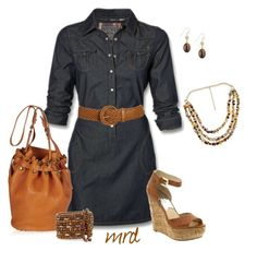 """Denim"" by michelled2711 ❤ liked on Polyvore featuring Wet Seal, Michael Kors, Alexander Wang, A.N.A, Yochi, Betty Jackson, wedge shoes, top handle bags and denim dresses"