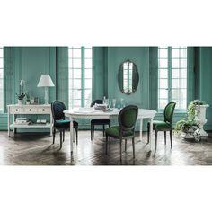 Table ronde de salle à manger à rallonges en bois blanche D 120 cm Louis…