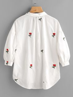 Online shopping for Drop Shoulder Flower Embroidery Bishop Sleeve Blouse from a great selection of women's fashion clothing & more at MakeMeChic. Embroidery On Clothes, Shirt Embroidery, Embroidered Clothes, Embroidery Fashion, Flower Embroidery, Embroidery Ideas, Blouse Styles, Blouse Designs, Kurti Embroidery Design
