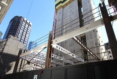Beam bending for Moorgate redevelopment in London @ www.barnshaws.com