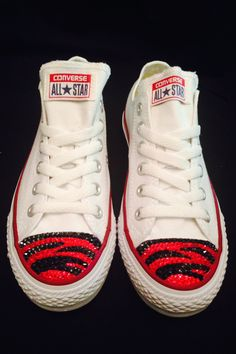 bdf036d55c57 Custom Swarovski All Star Converse Low White - Red and Black Tiger Stripes  - Favorite Football Team Colors