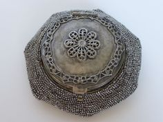 Antique Tam O' Shanter Steel Beaded Coin Purse Silver Plated Lid