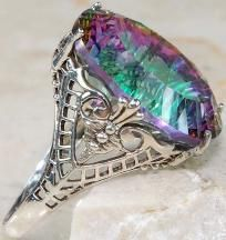 GLORIOUS 12 ctw Genuine Mystic Topaz Victorian Filigree Ring~Solid 925 SS~Sz.6.5~Sale~Hurry!