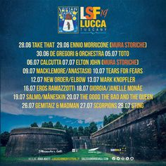 All about Lucca Summer Festival and all the best music festivals arond the world, including news, lineups, locations and tickets! European Festivals, Tears For Fears, Mark Knopfler, Lucca, Orchestra, Good Music, Take That, Good Things, Music Festivals