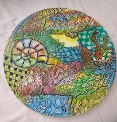 Large, 30cms round canvas. #zentangle #annie taylor
