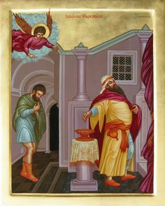 """The Pharisee and the Tax Collector. BIBLE SCRIPTURE: Luke 18:10, """"Two men went up into the temple to pray; the one a Pharisee, and the other a publican."""""""