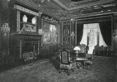Caroline Astor's dining room at her grand mansion, with tapestries depicting lovely hunting scenes. The fireplace was from the ballroom of her old mansion and the state of Venus had also come from her old residence, now currently the site of the Empire State Building