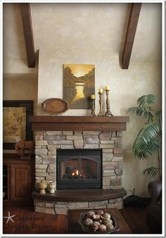 rustic fireplace mantle - like how the fireplace is elevated