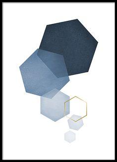 Blue hexagon, plakater i gruppen Plakater / Guld & Sølv hos Desenio AB (8528)